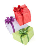Three gift boxes with ribbon and bow Royalty Free Stock Photos