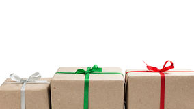 Three gift boxes in a row Stock Images