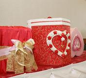Three gift boxes in wedding ceremony Royalty Free Stock Photography