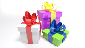 Three gift boxes on white surface - 3D rendering. Three gift boxes are on a white surface and white background. The bigger one is purple with yellow bow; the Royalty Free Stock Images