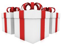 Three gift boxes for white. In backgrounds Royalty Free Stock Photography