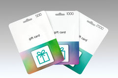 Three gift cards. Folded like a fan stock photography