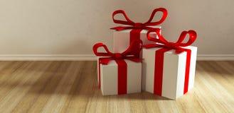 Three gift on floor Stock Photos