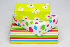 Three gifts  with colored paper Stock Photo