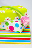 Three gifts  with a tulip Stock Photo