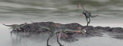 Three gigantoraptor dinosaur - 3d render Stock Photos