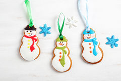 Three ginger cookies on a white background Stock Image