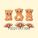 Three ginger kittens meditate with the inscription and lotuses. Stock Photos