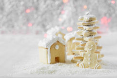 Three gingerbread houses,fir-tree and cookie men on the background of bokeh and snow Royalty Free Stock Photos