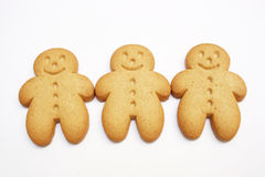 Three gingerbread men stock photos