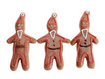 Three gingerbread santa clause cookie figures Royalty Free Stock Photography