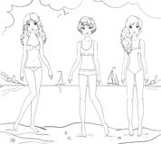 Three girl friends at the beach coloring page Stock Image