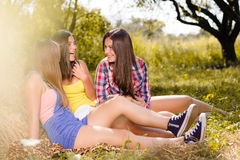 Three girl friends having fun on hay stack Stock Images