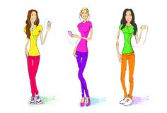 Three girl listen to music player with headphones vector illustration