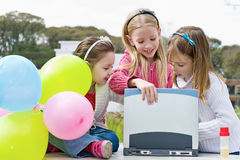 Three girl are playing in the park Royalty Free Stock Photos