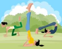 Three girl practicing yoga Royalty Free Stock Image