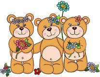 Three girl teddy bears with flowers Royalty Free Stock Photography