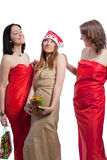 Three girlfriends on christmas Stock Images