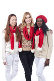 Three girlfriends with different derivation Royalty Free Stock Image