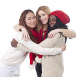 Three girlfriends with different derivation Royalty Free Stock Photography