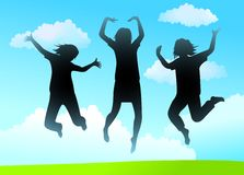 Three girlfriends jump vector Stock Image