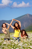 Three girlfriends on the meadow Stock Photos