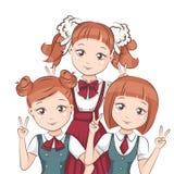 Three girlfriends in school uniform. Royalty Free Stock Photos