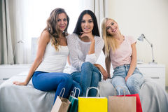Three girlfriends with shopping bag Royalty Free Stock Photography