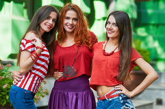Three Girlfriends sisters-triplets portrait Royalty Free Stock Image