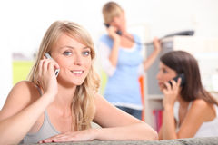 Three girlfriends in their apartment Royalty Free Stock Photo