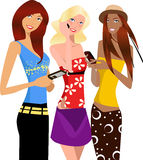 Three girls. Illustration vector of three girls with mobilephone Royalty Free Stock Photography