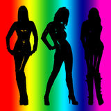 Three girls. Three silhouette of beautiful girls posing Stock Photo
