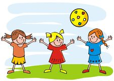 Three girls and ball, funny vector illustration, happy kids Royalty Free Stock Image