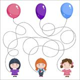 Three girls with balloons. Children`s picture with a riddle. Where is whose ball is?. Three girls with balloons. Children`s picture with a riddle. Find where is Stock Photos