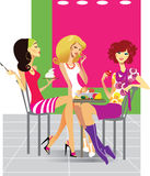Three girls in cafe stock illustration