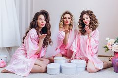 Three girls celebrate a bachelor party or birthday. royalty free stock photography