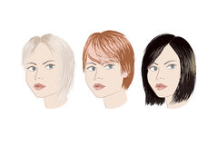 Three girls with different haircut. Blonde brunette redhead Stock Image
