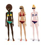Three girls of different skin types in a bathing. Woman in bikini, long leg sexy girl isolated over white background. Vector illustration Royalty Free Stock Images