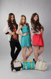 Three girls of different style posing for advertising Royalty Free Stock Photography