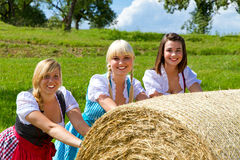 Three girls in Dirndl Stock Photography