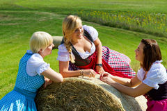 Three girls in dirndl Royalty Free Stock Photos
