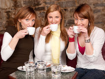 Three girls drinking coffee. Three beautiful young students drinking  coffee in coffee shop Royalty Free Stock Photo