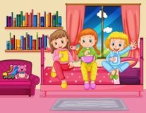Three girls eating snack in bedroom Royalty Free Stock Photo