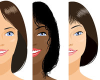 Three girls faces Stock Photography