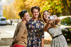 Three Girls Friends making selfie Royalty Free Stock Photos