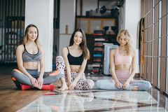 Three girls have a rest after morning classes Royalty Free Stock Photos