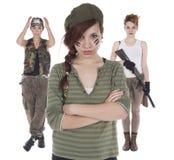 Three girls improvised soldiers Royalty Free Stock Image