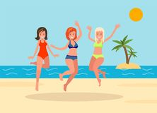 Three girls jump on the beach background. Summer vacation. Vector illustration in cartoon style Royalty Free Stock Images