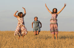 Three girls is jumping in oat field. Stock Photo