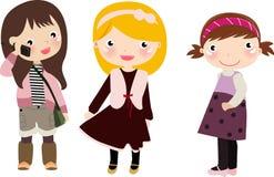 Three girls,kids vector illustration